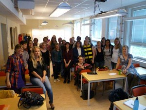1st Year swedish students with Sara Stride(centre) and myself, Sue Mant (right)