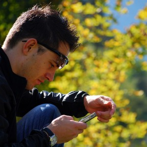 Student using smart phone