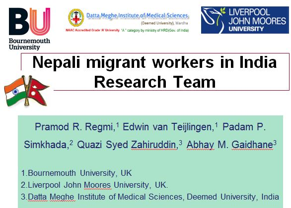 On The Last Day Of BUs Global Festival Learning India 2017 Prof Edwin Van Teijlingen Presented Following Paper Nepali Migrant Workers Trials