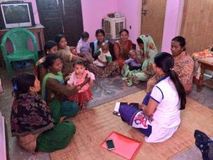 Gathering women for a focus group discussion in a rural area of Nepal